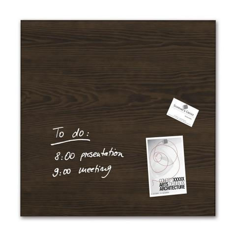 GL255-W-Glasmagnetboard-artverum-Design Dark-Wood