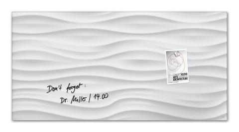 GL260-W-Glasmagnetboard-artverum-Design White-Wave