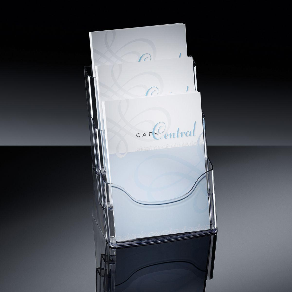 Picture of: Table Top Literature Holder Acrylic With 3 Compartments Sigel